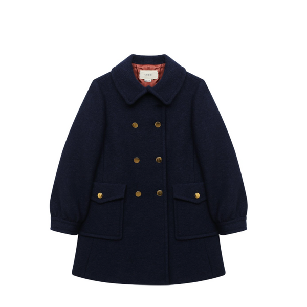 Girls Midnight Navy Wool Coat
