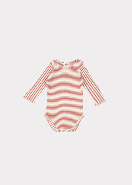 Baby Girls Lavender & Rust Stripe Cotton Babysuits