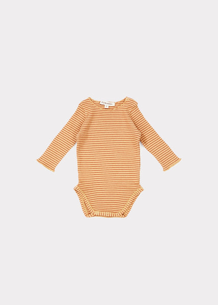 Baby Girls Camel & Rust Stripe Cotton Babysuits