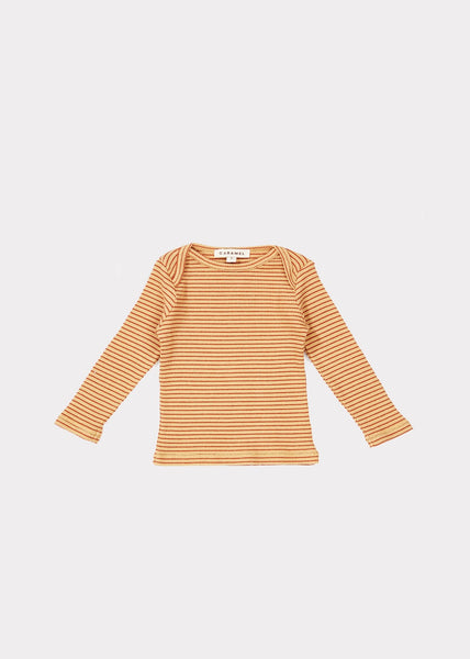 Baby Girls Camel & Rust Cotton Top