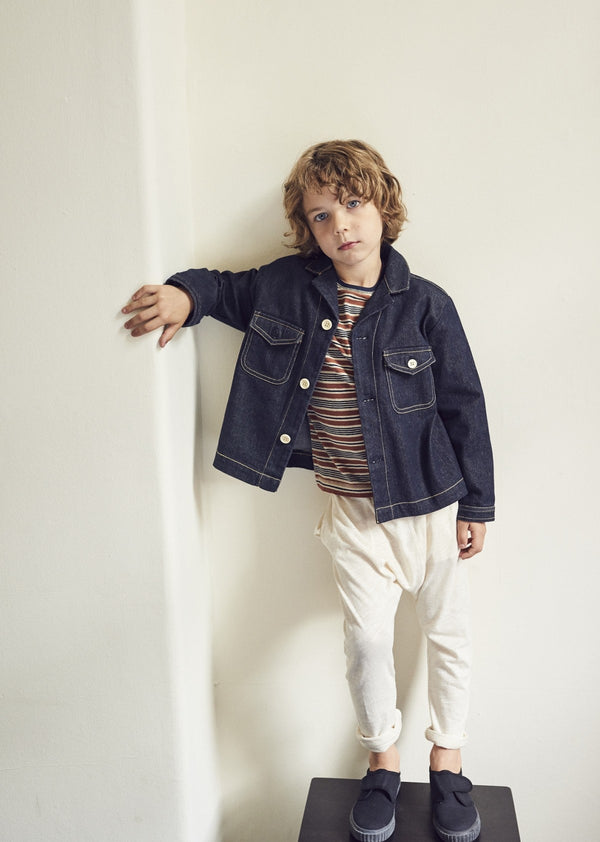 Boys Dark Blue Cotton Jacket