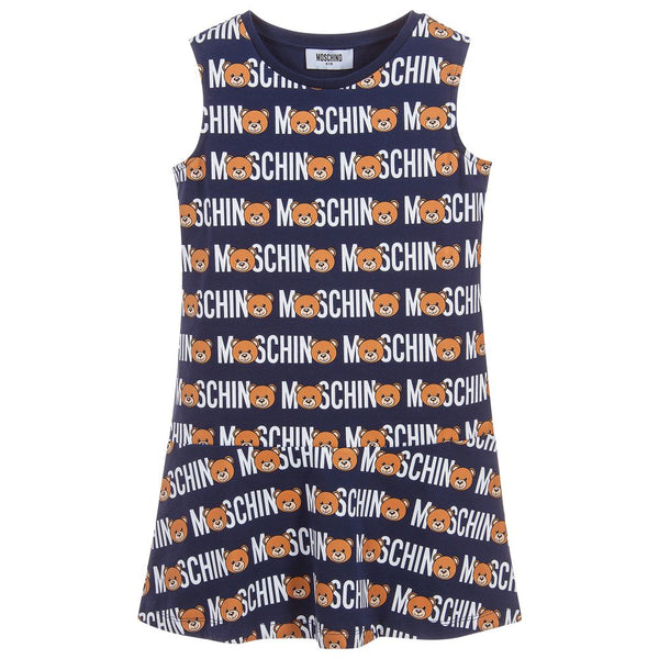 Girls Blue Toy Lettering Cotton Dress