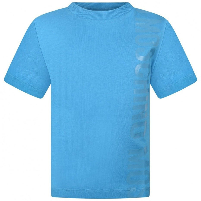 Boys Blue Logo Cotton T-shirt