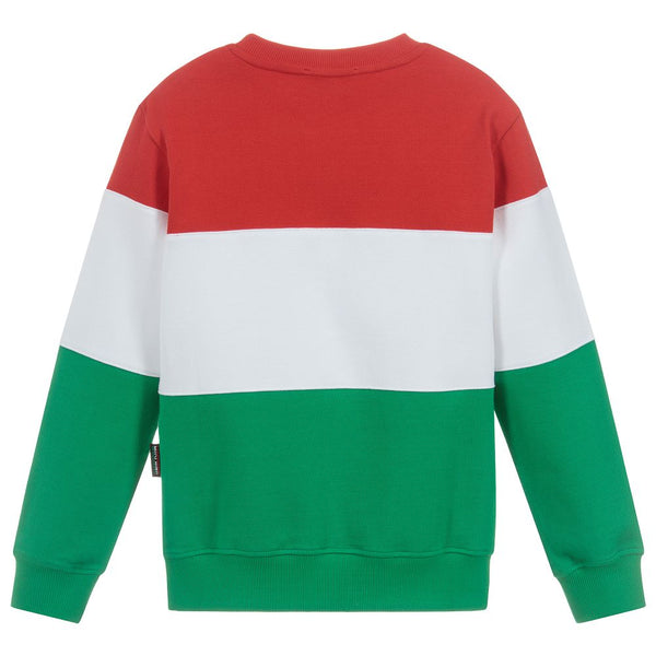 Boys Red & White & Green Logo Cotton Sweater