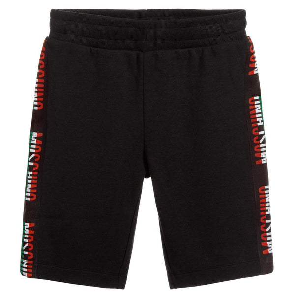 Boys Black Logo Cotton Shorts