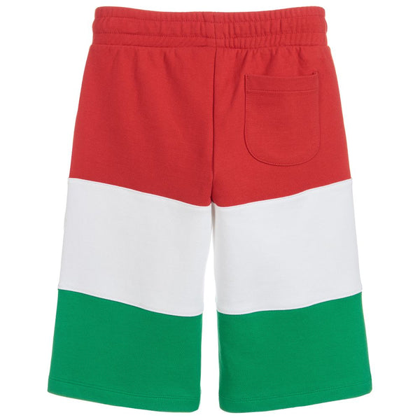 Boys Red & White & Green Logo Cotton Shorts