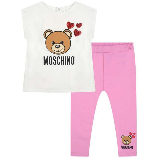 Baby Girls White & Pink Teddy Cotton Set