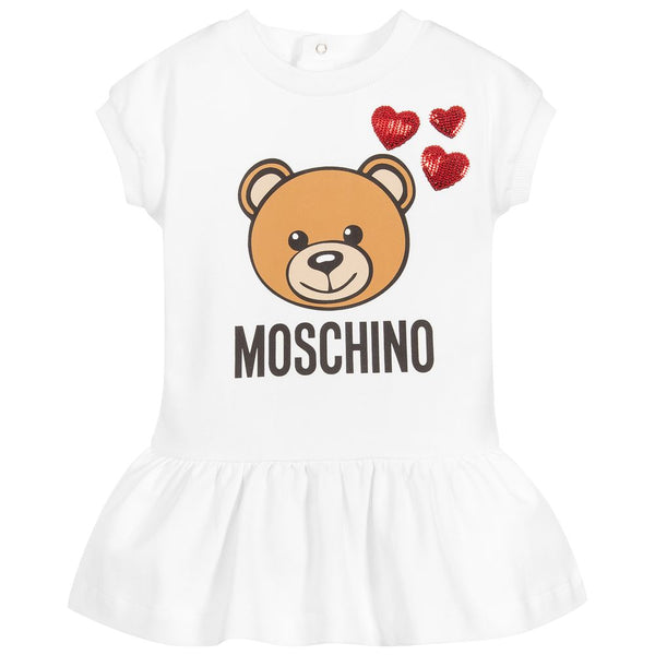 Baby Girls Ivory Teddy Cotton Dress