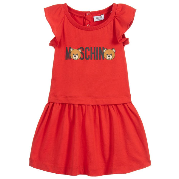 Baby Girls Red Teddy Cotton Dress