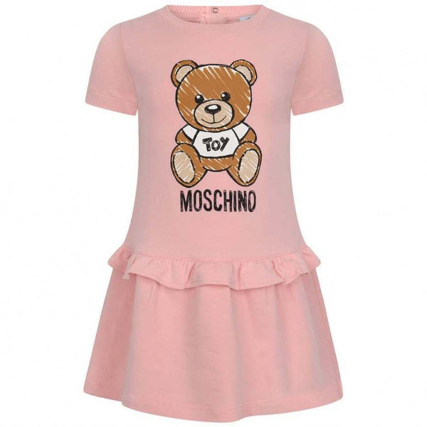 Baby Girls Pink Teddy Cotton Dress