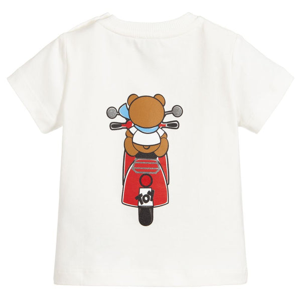 Baby Boys & Girls Ivory Printed Cotton T-Shirt