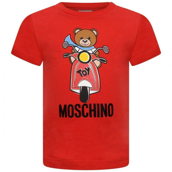 Baby Boys & Girls Red Printed Cotton T-Shirt