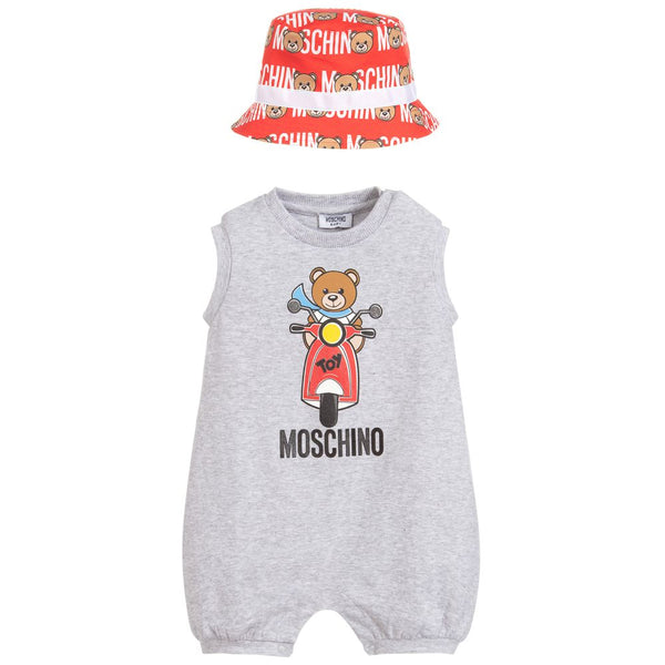Baby Boys & Girls Grey Cotton Babysuit & Hat Set