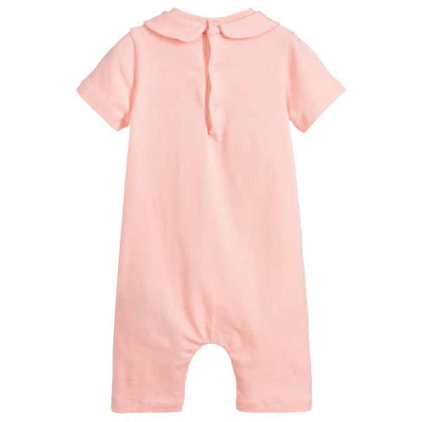 Baby Girls Pink Teddy Cotton Rompers