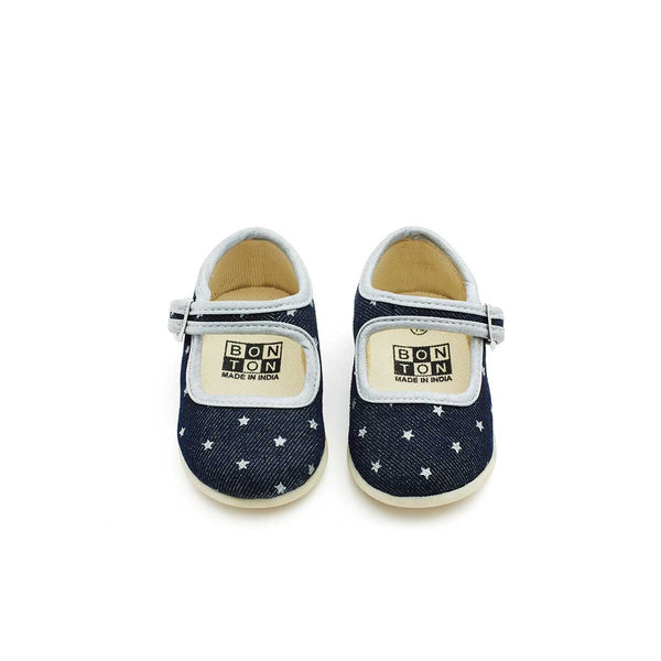 Baby Girls Dark Blue Cotton Shoes
