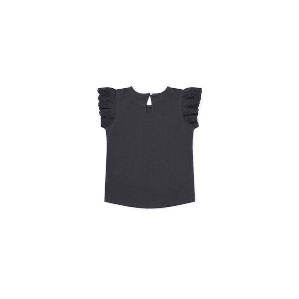 Girls Black Cotton T-shirt