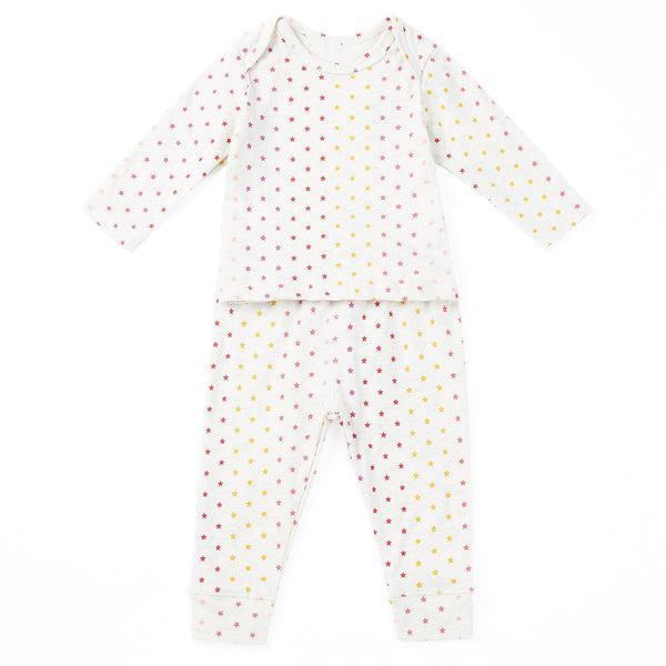Baby Girls Beige Star Cotton Nightwear Set