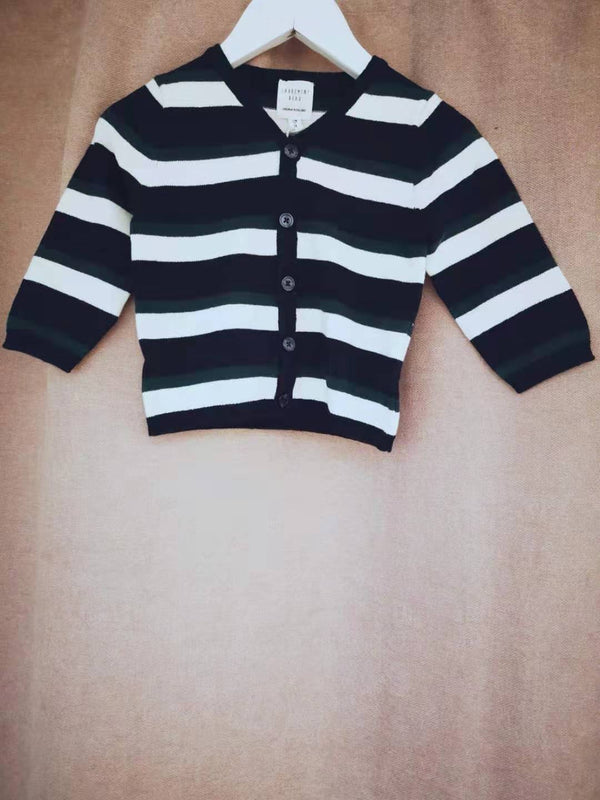 Baby Boys Blue Stripe Cotton Cardigan
