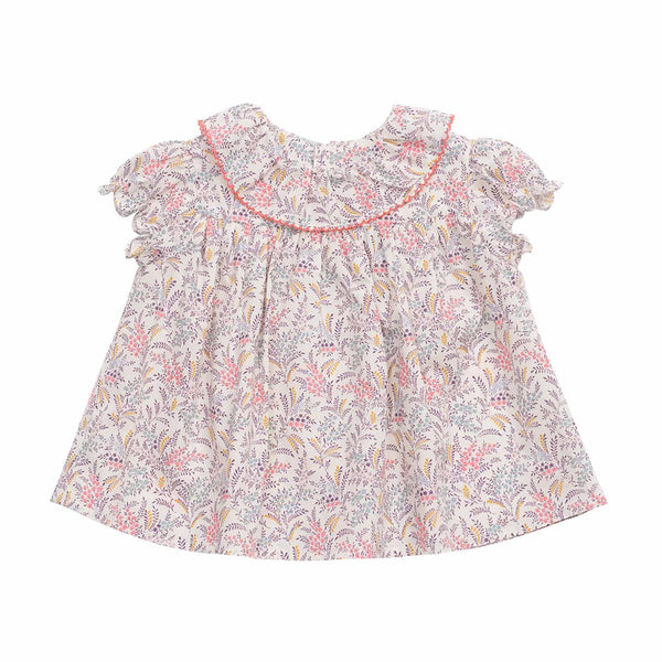 Baby Girls Multicolor Leaf Cotton Blouse