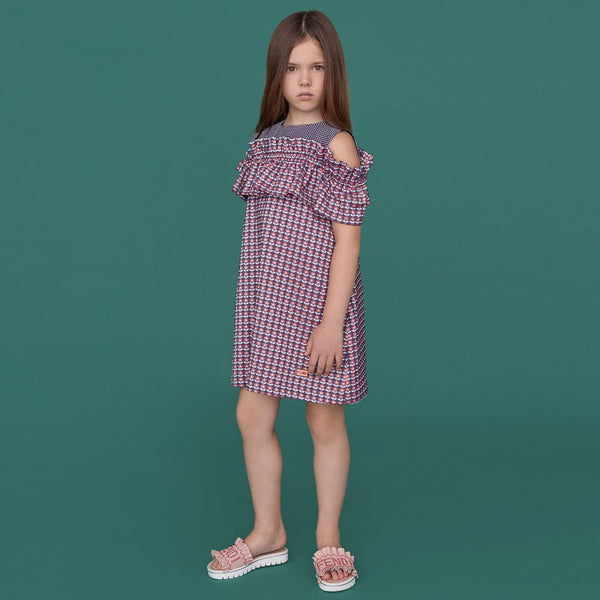 Girls Red & Blue Jacquard Dress