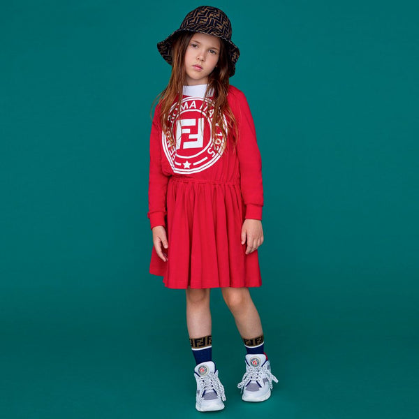 Girls Red Logo Cotton Dress