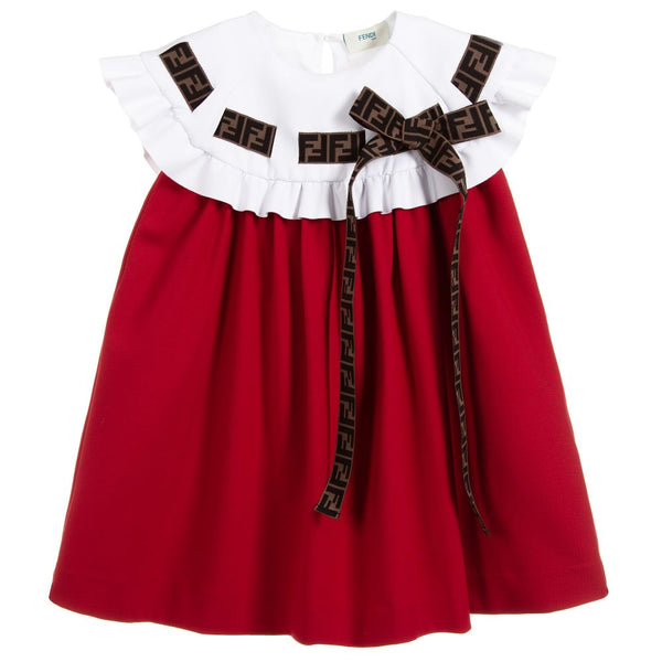 Girls Red & Ivory Jersey Dress