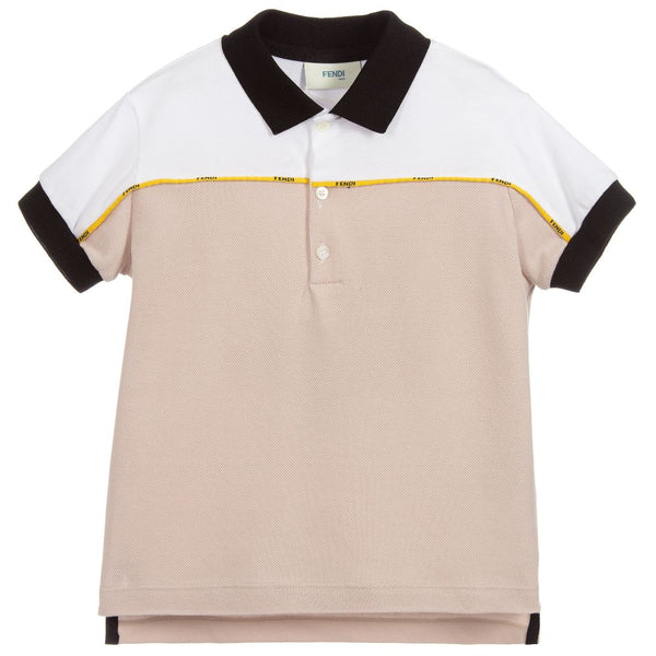 Boys Beige & White Cotton Polo Shirt