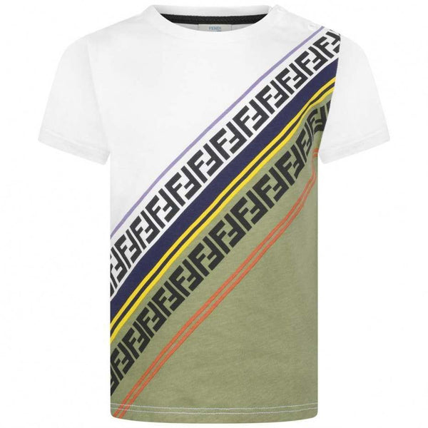 Boys Diagonal Striped Cotton T-shirt