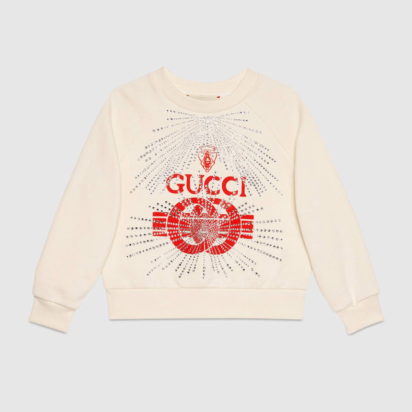 Girls Rice White & Red Cotton Sweatshirt