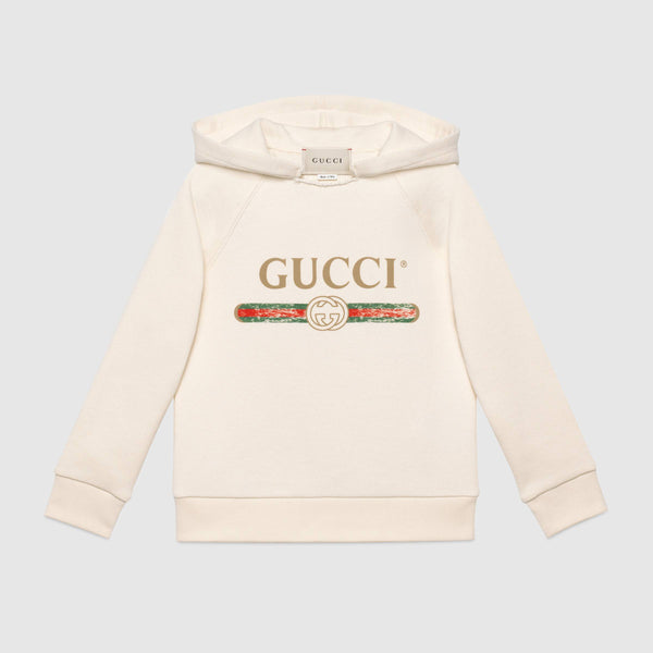 Girls Rice White Logo Cotton Sweatshirt