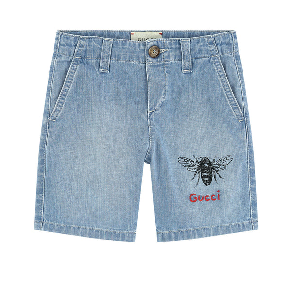 Boys Light Blue Cotton Shorts