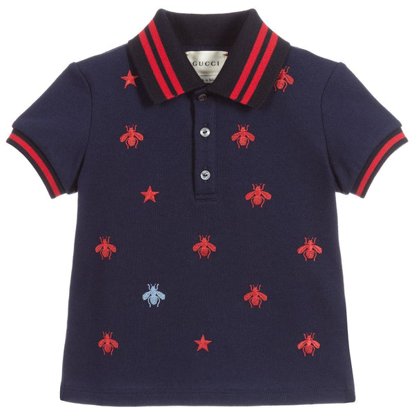 Boys Navy Blue Cotton Polo Shirt