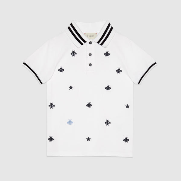 Boys White Polo Embroidery Cotton Shirt