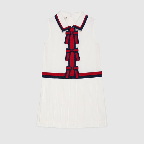 Girls White Sleeveless Cotton Dress