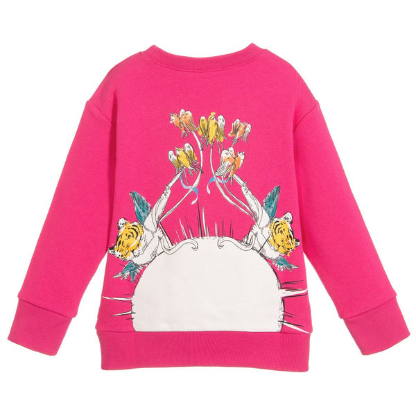 Girls Bright Fuxia Cotton Sweatshirt