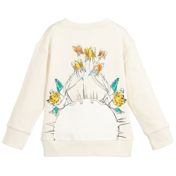 Girls Rice White Cotton Sweatshirt