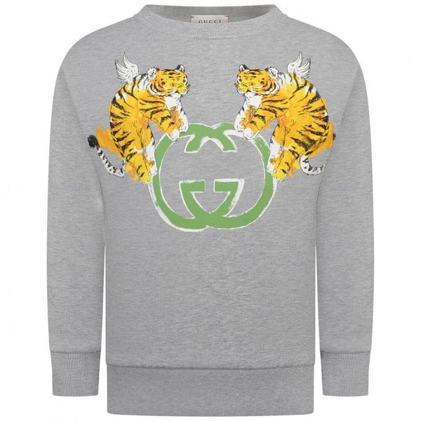 Boys Gray Printed Cotton Sweatshirt