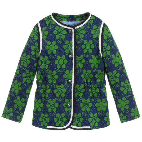Girls Green & Blue Cotton Coat