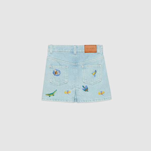 Girls Light Blue Cowboy Embroidered Skirt