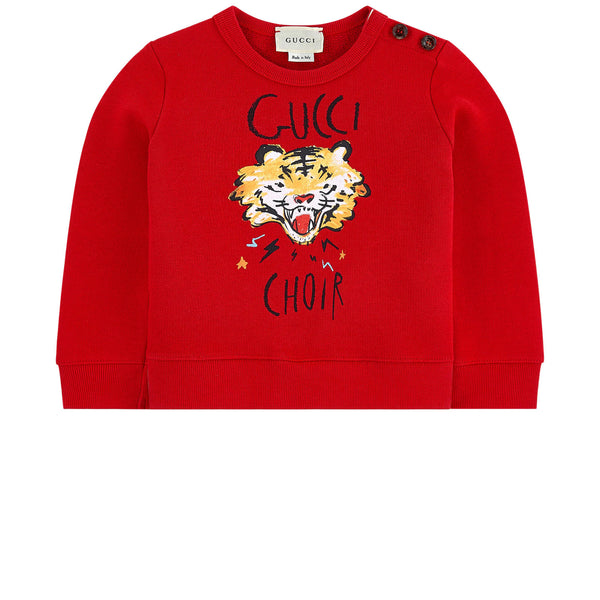 Baby Girls Red Printed Cotton Sweatshirt