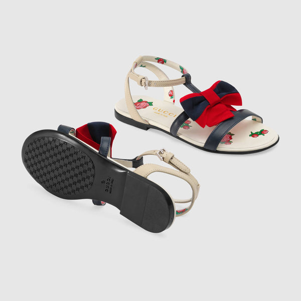Girls Rice White & Red Bowknot Sandals