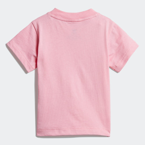 Girls Pink White Trefoil Cotton T-shirt