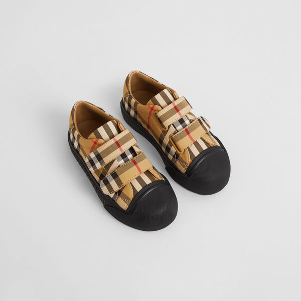 Boys & Girls Antique Yellow Check Cotton Shoes