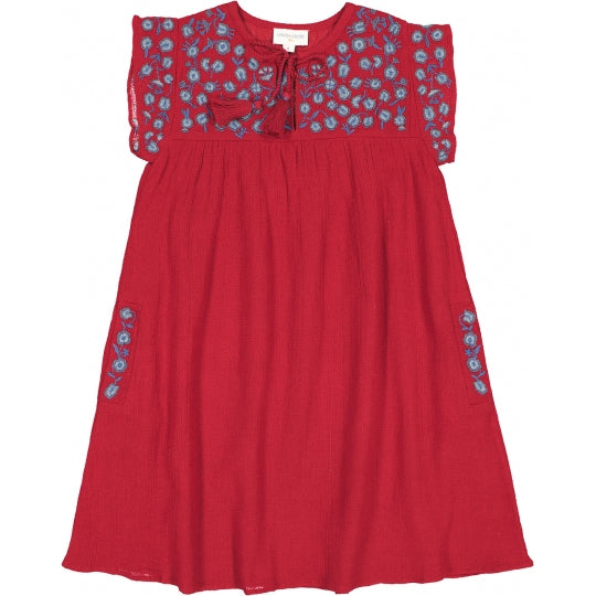 Girls Red Embroidered Cotton Dress