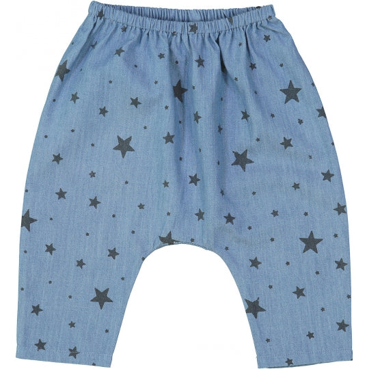 Baby Boys & Girls Blue Star Cotton Trousers