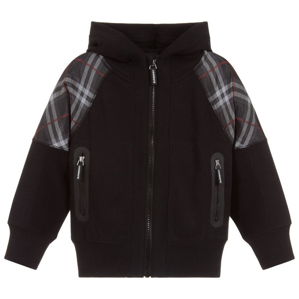 Boys Black Zip Cotton Coat