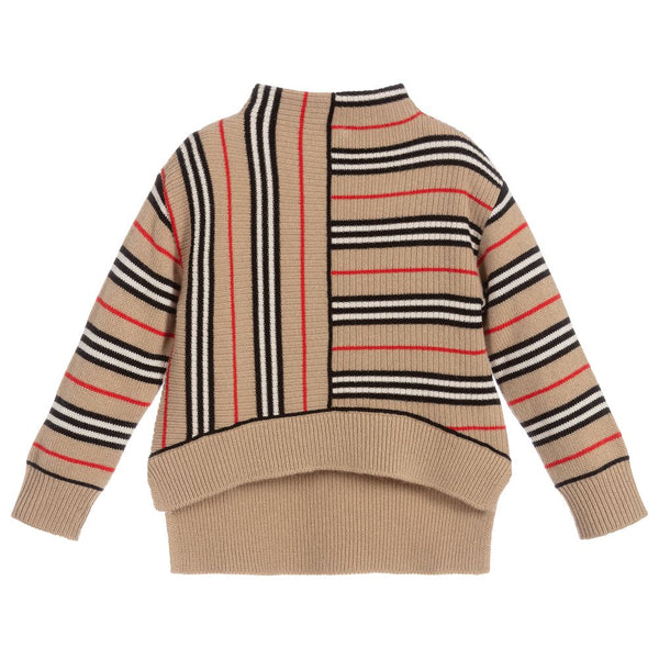 Girls Beige Striped Wool Top