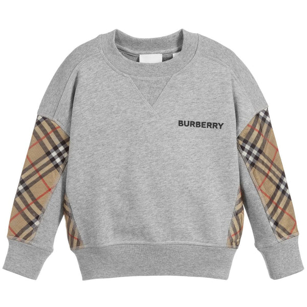 Boys Grey Logo Cotton Sweater