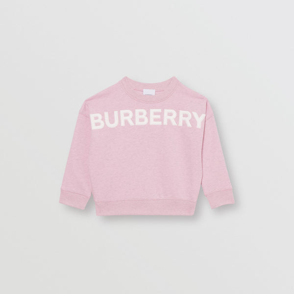 Girls Light Pink Logo Cotton Sweater