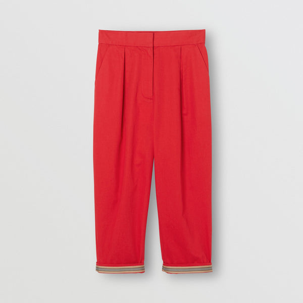 Girls Bright Red Cotton Trousers